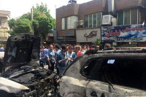 ماشین امین زندگانی در آتش سوخت