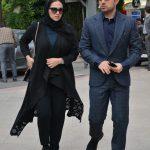 اشکان خطیبی و همسرش در مراسم سوم ناصر چشم آذر